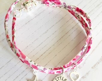 Liberty Floral Pink Ribbon Bracelet with Sterling Silver My Little Girl Charm