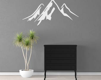 Mountains Wall Decal, Mountains Stickers, Bedroom Decor, Child's Room Decor