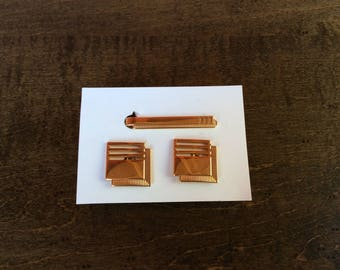 Tie Bar Clip and Cuff Link Matching Set Gold Mid Century Vintage Square SWANK