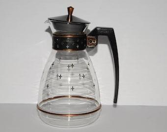 PYREX, 8 cups, Vintage, Silex, Coffee, Carafe, LCR 8, Mid Century Modern, MCM, Retro, Vintage Glass, Mod print, Black mod