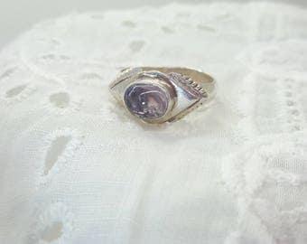Amethyst Cabochon Ring Sterling Silver /Vintage/Handmade/Free Shipping US/February Birthstone/ Birthday/Christmas/Valentines