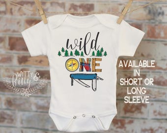 First Birthday Onesie, Wild One Birthday Onesie, Boys First Birthday Onesie, Woodland Party Onesie, Lumberjack Theme - 413W