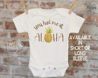 You Had Me At Aloha Pineapple Onesie®, Food Onesie, Hawaiian Theme Onesie, Cute Baby Bodysuit, Cute Island Onesie, Boho Baby Onesie - 416Y