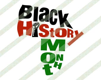 Black History Month Africa Shape Raised Fist SVG PNG JPEG African American Ethnic Art Digital Download