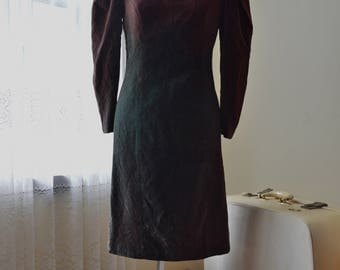 Vintage 80s deep green and brown Crushed Velvet dress