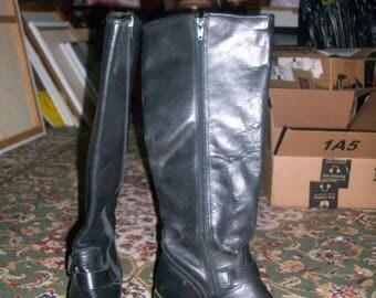 Vintage 1990s NINE WEST Genuine Black Leather Engineer Boots Calf High 7M
