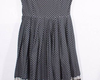 Vintage 1950s Handmade Rockabilly, Pin Up, Swing, Lindy Hop, Black & White Print Dress with Belt