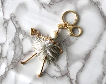 ONE Grey Luxury Fashion Girl Keychain, Gold Plated Doll Keychain, Birthday Gifts For Daughter Under 25, Women Purse Accessories, Boho Gifts