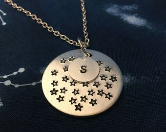 Star Pattern Monogram Necklace - Galaxy Initial Necklace - Monogram Space Necklace - Star Initial Necklace - Monogram Jewelry