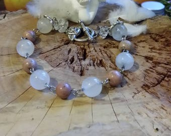 Bracelet en quartz laiteux et en rhodonites naturelles et métal argenté Par AngelS SignS