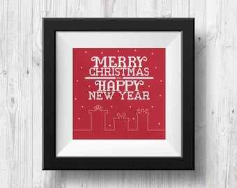 Christmas Greeting, Counted Cross Stitch Pattern, PDF Instant Download