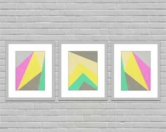 modern ditsy abstract art geometric art set of three prints