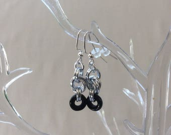 Double Spiral Chain Mail Earrings with Black Czech Pressed Glass Ring