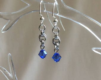 Double Spiral Chain Mail Earrings with Blue Zircon Swarovski Crystal