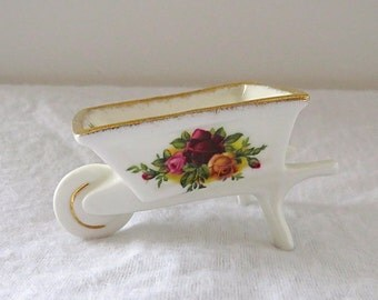 Vintage Royal Albert, Old Country Rose, Bone China England, Porcelain Wheelbarrow from 1962