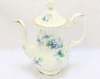 Vintage Royal Albert, Bone China England, ''Inspiration'' Porcelain Coffeepot with beautiful Flower Decor
