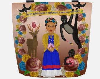 Ombré Pink to Brown Frida Kahlo (Everyday Use) Tote Bag