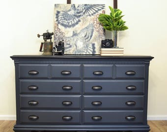 SOLD   8 Drawer Solid Wood Smoky Grey Painted Dresser