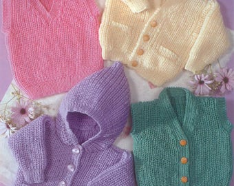Children's Cardigans, Slipover and Waistcoat, Knitting Pattern, Instant Download.
