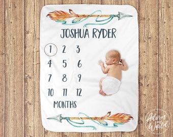 Baby Boy Blanket, Milestone Blanket Boy, Baby Boy Gift, Newborn Gift, Gift for Baby Boy, Monthly Milestone, Month to Month, Tribal, Arrows