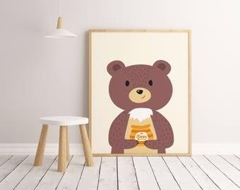 Bear with Honey Printable Wall Art Poster, Kids room decor, Nursery decor, Bear print, Bear poster, Bear art, Bear decor, Bear poster