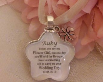 Custom made Bridal Bouquet Personalised Flower Girl Charm wedding Something Old keepsake Gift