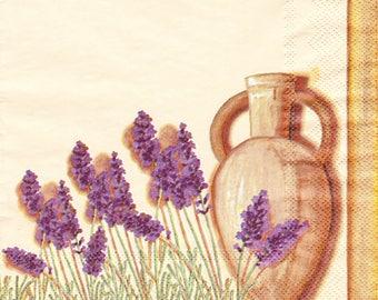 Paper napkin Lavender decor and ceramic pot