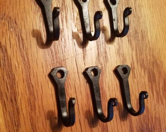 6 Small blacksmith hand forged horseshoe nail hooks