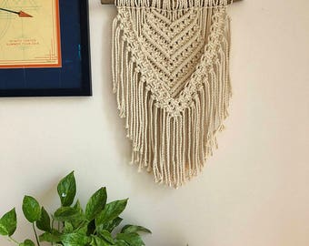 Large Macrame Wall Hanging on a Foraged Branch, Woven Wall Hanging, Boho Hippie Tapestry, Bohemian Home Decor, Statement Piece