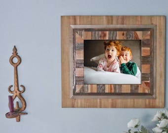 STUNNING Rustic Wood Frame (11x14) - 100% Hand-Crafted With Intricate Hand Inlaid Work / rustic frames / shabby chic frame / reclaimed wood