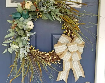 Luxury blue teal fall Thanksgiving wreath with burlap bow, pumpkins, leaves, berries, floral Farmhouse cottage decor wreath. Handmade wreath