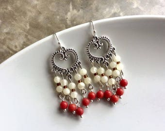 Coral Earring, Moonstone Earring, Drop Earring, Chandelier Earring, June Birthstone Jewelry, June Birthstone, Gift for her.