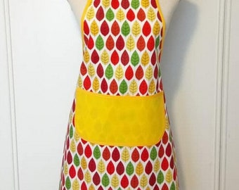 Colorful leaves pattern apron