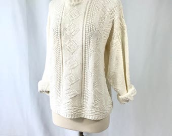 Off White Cable Knit Fishermans Sweater Vintage Clothing