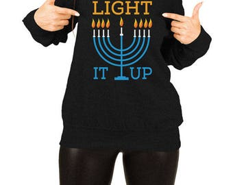 Hanukkah Sweater Holiday Pullover Chanukah Jewish Clothing Holiday Present Hanukkah Menorah Off The Shoulder Slouchy Sweatshirt TEP-512
