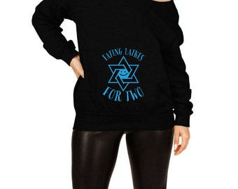 Hanukkah Pregnancy Announcement Maternity Gifts For Expecting Mothers Baby Reveal Chanukah Off The Shoulder Slouchy Sweatshirt TEP-514