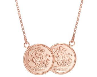 """Sterling Silver St George Double Half Sovereign Coin 17"""" Necklace"""