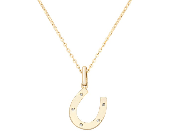 """9ct Yellow Gold & Cz Stud Lucky Horseshoe 16""""-18"""" Necklace"""