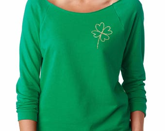 shamrock shirt, shamrock glitter, off the shoulder, women slouchy, women shirt, st patricks day, st pattys day, shamrock, lucky shirt, irish