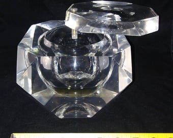 Large Vintage Mid Century Modern Lucite Container with Swivel Top Retro Decor Piece