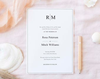 Wedding Invitation Template, Wedding Invite Template, Clean Wedding Invitation, Cheap Wedding Invite, Affordable Invite, Wedding Invite PDF