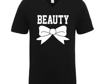 Beauty Black and White Adult Unisex Men Size V Neck Tee Shirts for Men and Women
