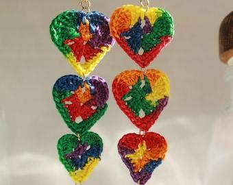 Love is love crochet heart earrings