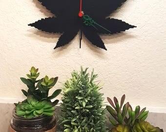 "Steel Clock, Cannabis Leaf 12"" Metal Wall Art"