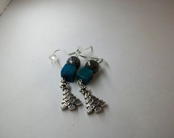 Labradorite and Azurite Chrysocolla with Christmas Tree charm earrings