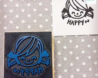 Hand Carved Happy Girl Rubber Stamp