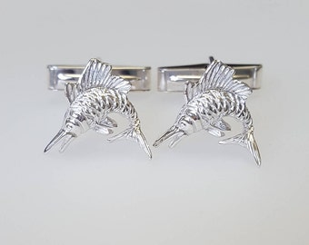 Gift for him Swordfish Cufflinks in .925 Sterling Silver