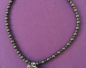 Silver Mix Rosette with Hematite Beads Necklace