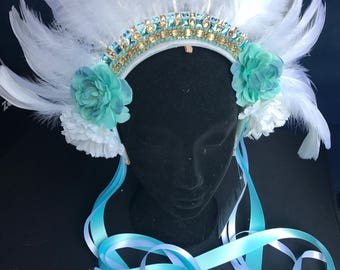 Feather and Tuquoise Headpiece