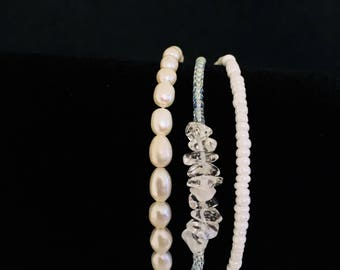 Beach crystal mint bracelet, Gemstone Bracelet, Seed Bead Bracelet
